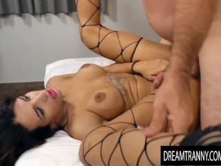 Busty Trans Cutie Vitoria Neves Cums on Her Man While Riding His Hard Cock