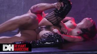 Deviant Hardcore - Caged slave Gina Valentina gets 3 holed