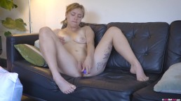 Pigtailed blondie rubs her big clit and fucks her wet hole with sex toy