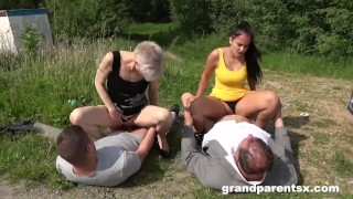 Step Family Cums First - Roadside Creampie