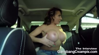 MILF Rides in car topless before she takes on 5 cocksmen in 2nd gangbang