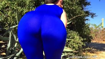 Luscious Lopez blue catsuit walk