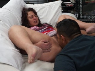 Tongue fucking my hippie friends hairy vagina