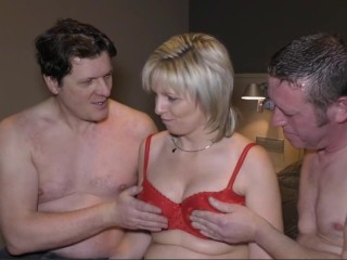 Hot Mature Blonde Big Tit Milf Gets Fucked in a Threesome by Two Big Dicks