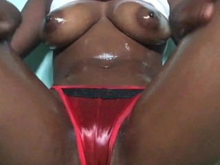 Ebony hottie red thong tease hairbrush fuck and squirt