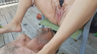 Public Golden shower on the deck while the neighbors bbq