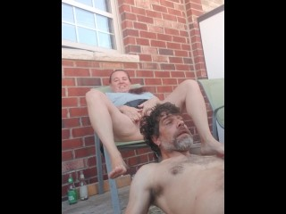 Golden shower in public while neighbors bbq part 2