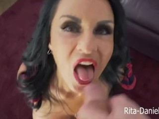 Rita takes the king of cum loads Rodney Moores