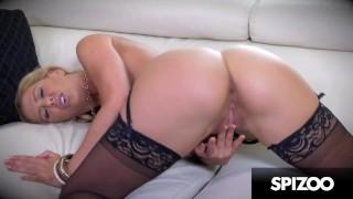 Hot MILF Cherie DeVille in a Black Lingerie Fingering her Wet Pussy