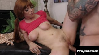 Rowdy Red Penny Pax Gets Sticky Facial After Hot Blowjob!