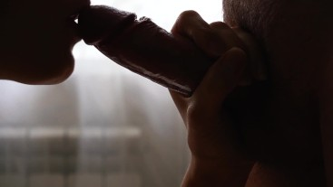 Blowjob and gentle frictions closeup. Cum on pussy