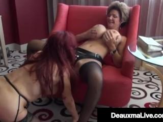 Busty Cougar Deauxma StrapOn Fucks Latina Milf Sexy Vanessa!