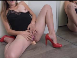 My first video starts clumsy gets real messy Balls deep anal big dildo