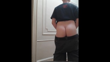 A quick flashing of my thick fuckable asscheeks and asshole in my hallway