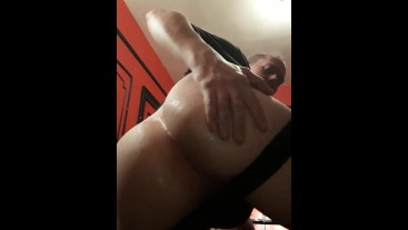 RedSer fucking his soaking wet asshole with a dildo