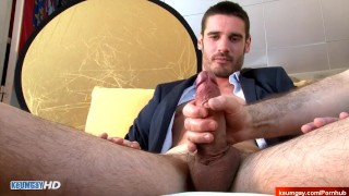 Straight in suit saleman gets wanked his big hard dick in spite of him