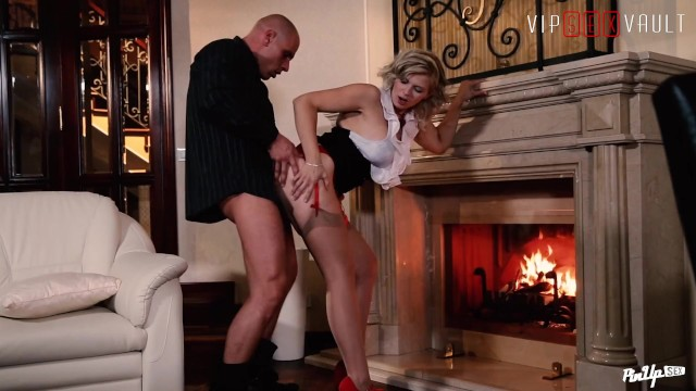 VIPSEXVAULT - Couple Has Romantic SEX in Front of The Fireplace
