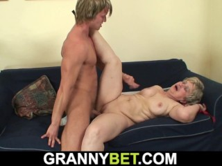 years old granny swallows his big cock