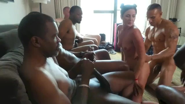 Standing naked before the lord - Hotwife in interracial cuckold gangbang