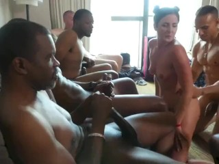 hotwife in interracial cuckold gangbang Helena Price