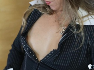 Small Tit Babe Wants Pervy Colleague To Wank And Cum Over Her Boobs