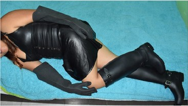 RUBBER boots & gloves handjob, cum explosion, leather skirt, dick tease