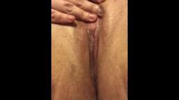 Playing with my tight wet hairy pussy