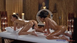 Massage Rooms Busty brunettes Emily Bright Shalina Devine oil and orgasms