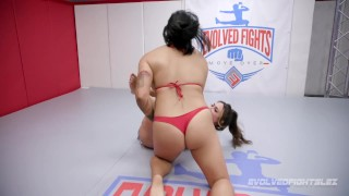 Trailer for the intense lesbian wrestling match between muscle girls