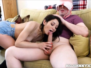 Natural Italian Babe Sucks Fucks her Geeky Nerd Boyfriend Cum in Mouth Big Johnny, Valentina Bianco
