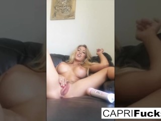 Capri Cavanni uses a hitachi to get herself off