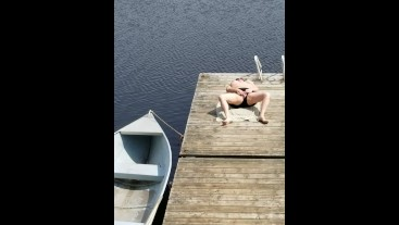 Rub my cock watching my wife masturbate on a public jetty, almost caught!