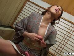 Japanese housewife in a kimono, Aya Kisaki is masturbating, uncensored