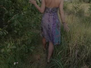 German horny wife fingering pussy public nature handjob masturbation_Teaser