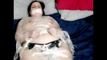 Mummified Clingfilm Wrap Escapade Game In Just A Thong & Tape Over My Mouth
