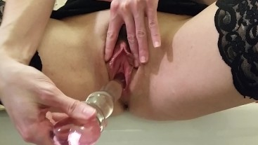 Glass Dildo Sliding In and Out of My Dripping Wet Meaty Pussy