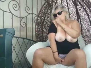 Smoking and show naked big boobs in my garden