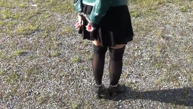 Shaved fishnet bound ankles Black stockings and ankle cuffs / shackles self bondage slavegirl