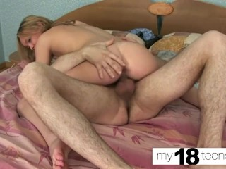 MYTEENS Babe Bubble Butt Suck and Riding on Huge Cock