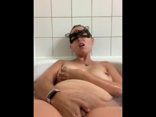 Fun with toy in tub