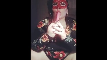 Masked MistressRose home alone cumming while daddys out