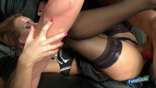 Busty blonde babe gets her pussy banged by older muscular guy