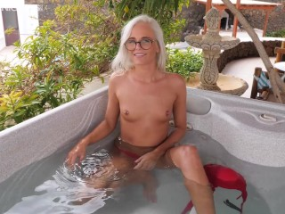 First Time Blonde Babe Shooting Topless In Hot Tub