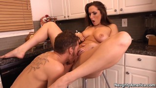 Screen Capture of Video Titled: Naughty America Paige Turnah fucking in the chair