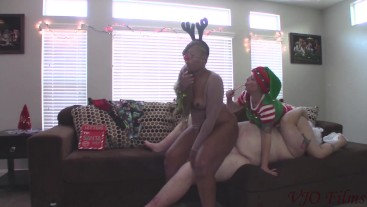 Santa Fucks Rudolph and a Sexy Elf Helper