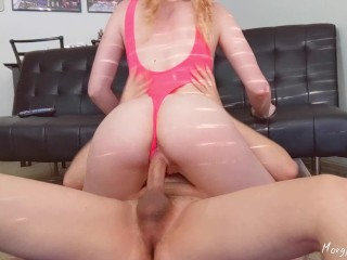 Roommate interrupts workout to fill my tight pussy with his huge cum load