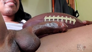 solo masturbation football tribute while using a anal toy huge cumload