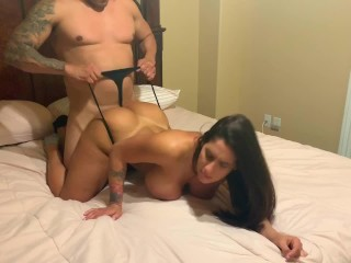 Big ass brunette bounces on big dick dotyle with cum shower at the end