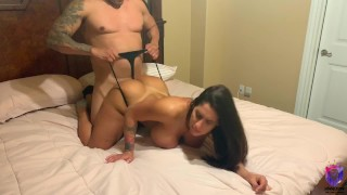 Big ass brunette bounces on big dick doggystyle with cum shower at the end