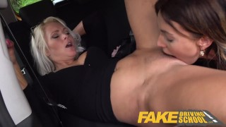 Fake Driving School Learner licks Kathy Andersons wet pussy for license